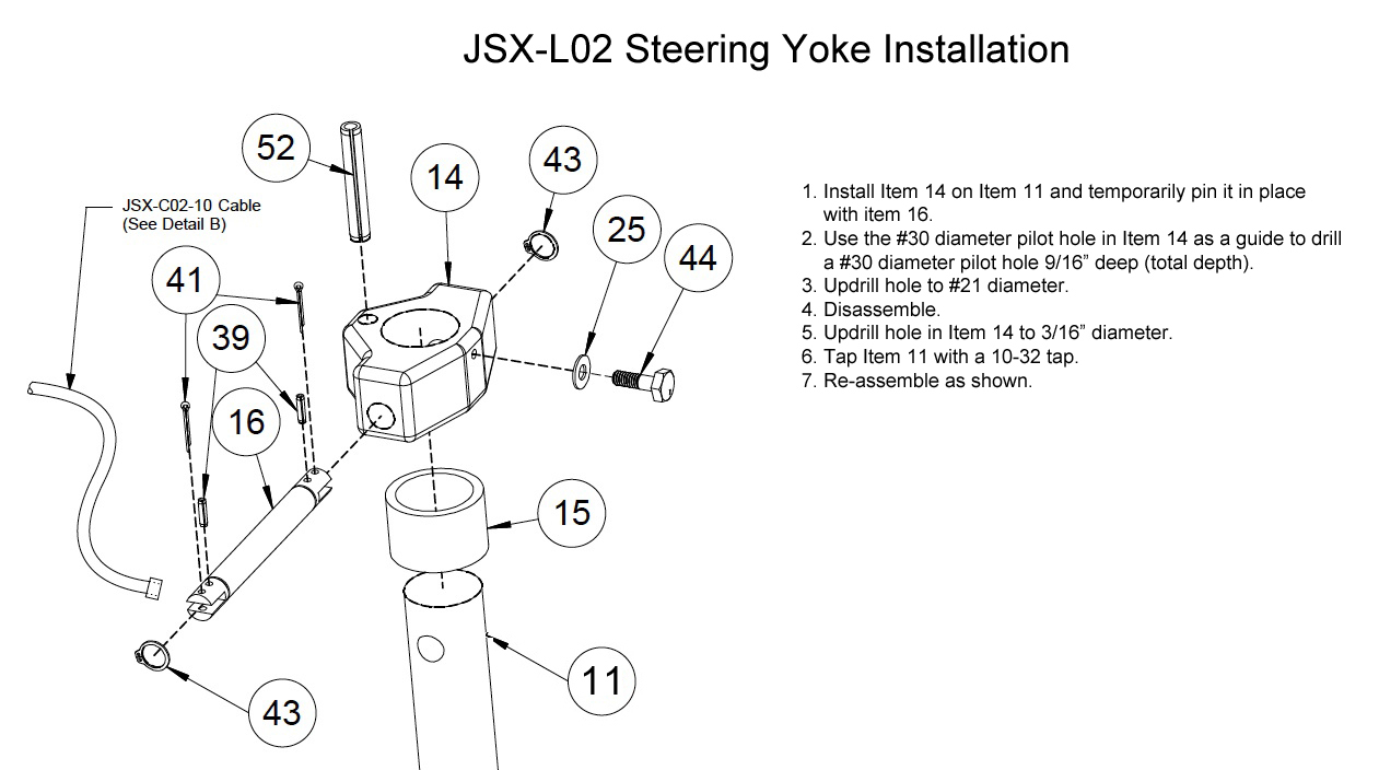 added step-by step instructions for assembling steering yoke to nose gear  leg
