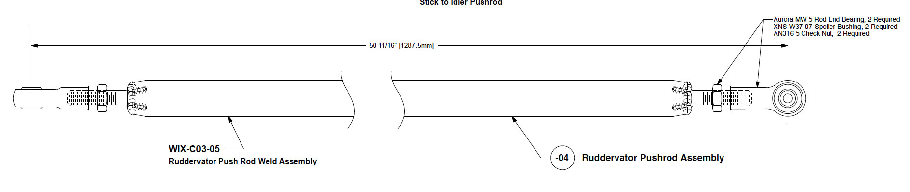 added -04 ruddervator pushrod assembly