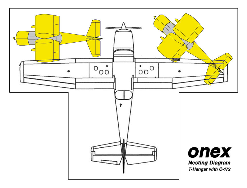 Onex Nested in a T-Hangar with a C-172