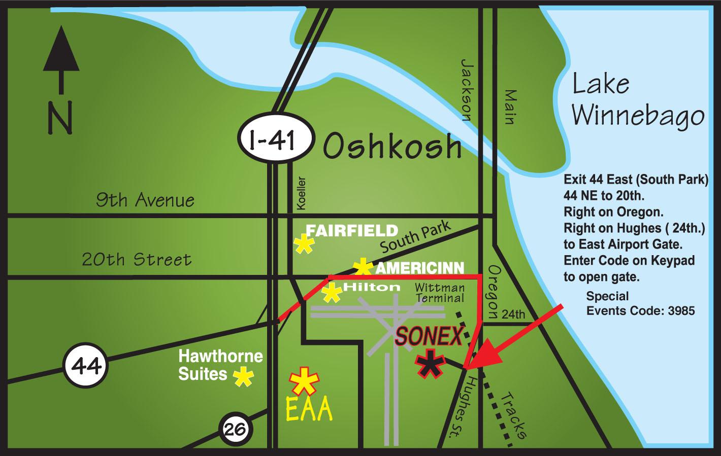 Map to Sonex – Sonex Aircraft